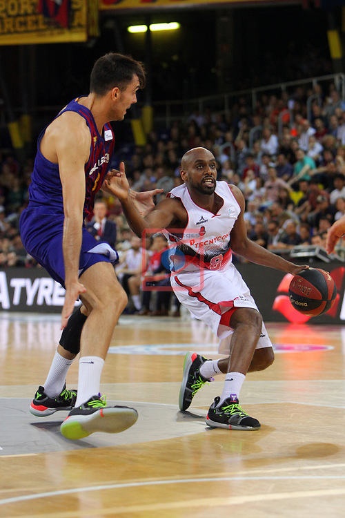 League ACB-ENDESA 201/2019.Game 38.<br /> PlayOff Semifinals.1st match.<br /> FC Barcelona Lassa vs Tecnyconta Zaragoza: 101-59.<br /> Pierre Oriola vs J. Berhanemeskel.