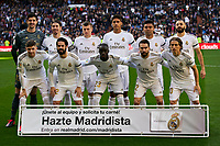 Team photo of Real Madrid during La Liga match between Real Madrid and Atletico de Madrid at Santiago Bernabeu Stadium in Madrid, Spain. February 01, 2020. (ALTERPHOTOS/A. Perez Meca)<br /> 01/02/2020 <br /> Liga Spagna 2019/2020 <br /> Real Madrid - Atletico Madrid  <br /> Foto Alterphotos / Insidefoto <br /> ITALY ONLY