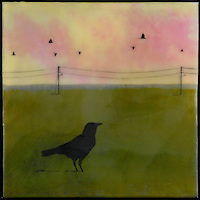 Mixed media photo encaustic painting of bird in green field with power poles