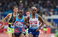 Mo Farah of GBR leads his 3000m race with 1 lap to go, in his last track event ever in the UK during the Muller Grand Prix Birmingham Athletics at Alexandra Stadium, Birmingham, England on 20 August 2017. Photo by Andy Rowland.