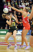 03.09.2017 England's Chelsea Pitman and South Africa's Karla Mostert in action during the Quad Series netball match between England and South Africa at the ILT Stadium Southland in Invercargill. Mandatory Photo Credit ©Michael Bradley.