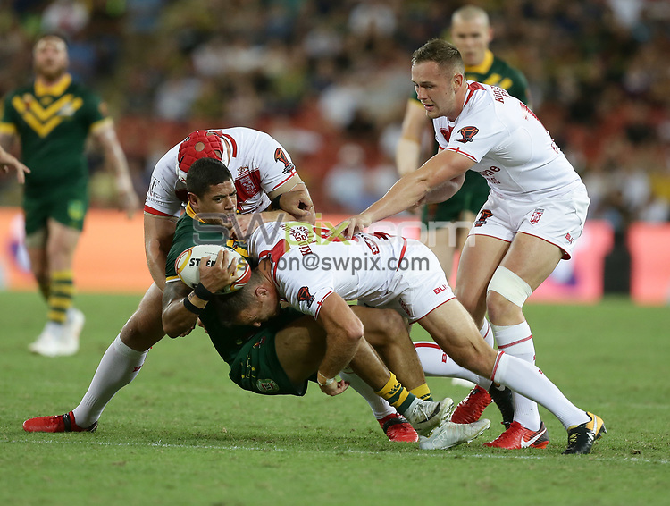 Australia's Will Chambers is tackled by England's James Roby during the Rugby League World Cup final between Australia and England, Suncorp Stadium, Brisbane, Australia, 2 December 2017. Copyright Image: Tertius Pickard / www.photosport.nz MANDATORY BYLINR/CREDIT : Tertius Pickard/SWpix.com/PhotosportNZ