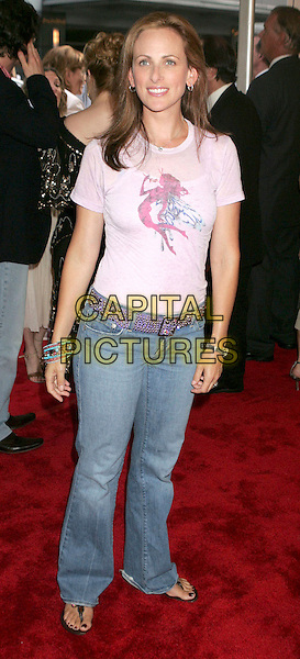 "MARLEE MATLIN.At the ""Bad News Bears"" Film Premiere held at the Ziegfeld Theatre, New York City, NY, .USA, 18 July 2005..full length pink t-shirt t shirt fairy logo motif.Ref: ADM.www.capitalpictures.com.sales@capitalpictures.com.©Alec Cole/AdMedia/Capital Pictures."