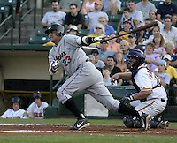 August 2, 2004:  Catcher Geronimo Gil of the Ottawa Lynx, Triple-A International League affiliate of the Baltimore Orioles, during a game at Frontier Field in Rochester, NY.  Photo by:  Mike Janes/Four Seam Images