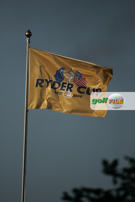 Straffin Co Kildare Ireland. K Club Ruder Cup...Ryder Cup flags fly high as the opening fourball session of the first day of the 2006 Ryder Cup, at the K Club in Straffan, Co Kildare, in the Republic of Ireland, 22 September 2006..Photo: Fran Caffrey/ Newsfile.