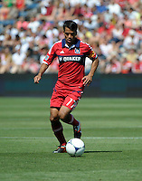 Chicago midfielder Pavel Pardo (17) dribbles the ball.  The LA Galaxy defeated the Chicago Fire 2-0 at Toyota Park in Bridgeview, IL on July 8, 2012.