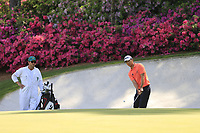 Michael Kim (USA) on the 13th green during the 1st round at the The Masters , Augusta National, Augusta, Georgia, USA. 11/04/2019.<br /> Picture Fran Caffrey / Golffile.ie<br /> <br /> All photo usage must carry mandatory copyright credit (&copy; Golffile | Fran Caffrey)