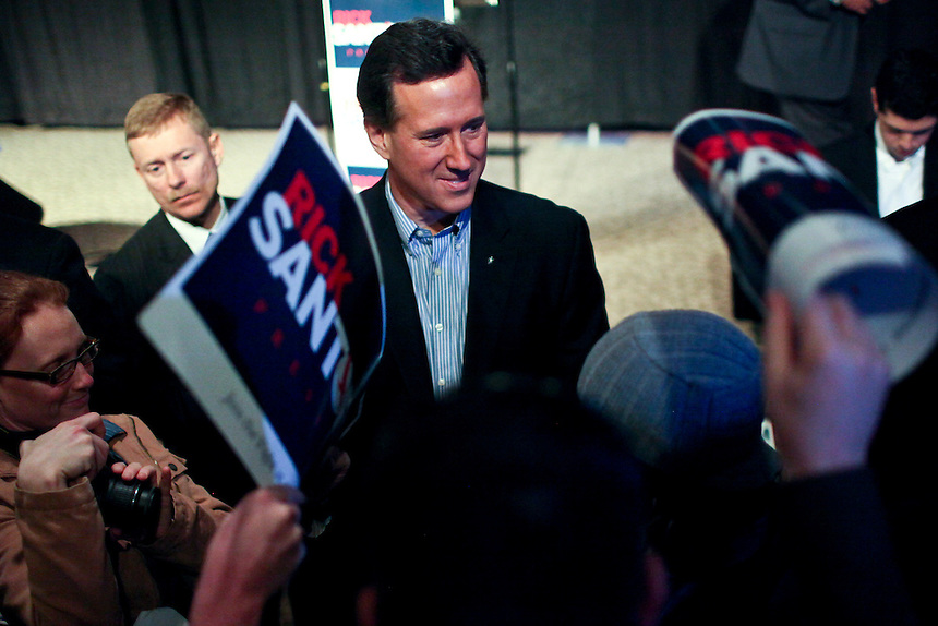 Republican presidential candidate Rick Santorum greets supporters at New Life Assembly Church in Spokane Valley, Washington on March 1, 2012.