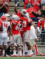 Ohio State Buckeyes wide receiver Dontre Wilson (2) celebrates an 18-yard touchdown catch during the first half of the NCAA football game against the Rutgers Scarlet Knights at Ohio Stadium in Columbus on Oct. 1, 2016. (Adam Cairns / The Columbus Dispatch)