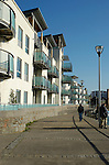 New residential apartments next to riverside footpath at Harbourside, Bristol