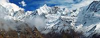 .Panorama of the east wall of the Annapurna Sanctuary, from Annapuna III (left) to Machapuchare. Annapurna region, Nepal Himalaya...