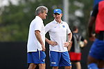 DURHAM, NC - SEPTEMBER 05: Duke head coach John Kerr (left) with assistant coach Michael Brady (right). The Duke University Blue Devils hosted the Presbyterian College Blue Hose on September 5, 2017 at Koskinen Stadium in Durham, NC in a Division I college soccer game. The game ended in a 1-1 tie after two overtimes.