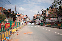 After the earthquake most of the shops are closed, and streets are nearly empty in Kathmandu, Nepal.