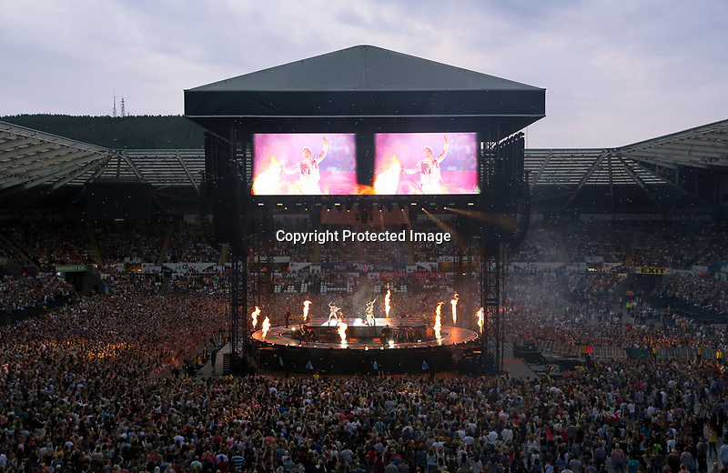 Pictured: Take That on stage. Wednesday 14 June 2017<br /> Re: Take That concert at the Liberty Stadium, Swansea, Wales, UK