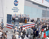 Astronaut John Glenn, Jr. is honored by President John F. Kennedy after his historical first manned orbital flight. The ceremony is being held at the Manned Spacecraft Center at Cape Canaveral, Florida on February 23, 1962. The Center moved to Houston, Texas later that year, where it continues to reside..Credit: NASA via CNP
