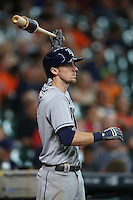 HOUSTON, TX - AUGUST 28:  Matt Duffy #5 of the Tampa Bay Rays waits in the on deck circle during the game against the Houston Astros at Minute Maid Park on Sunday, August 28, 2016 in Houston, Texas. Photo by Brad Mangin