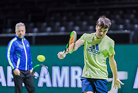 Rotterdam, Netherlands, 10 februari, 2018, Ahoy, Tennis, ABNAMROWTT, Petr Tsitsipas (GRE) with his coach<br />
