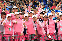 Pink supporters during the final round of the Volvo China Open played at Topwin Golf and Country Club, Huairou, Beijing, China 26-29 April 2018.<br /> 29/04/2018.<br /> Picture: Golffile | Phil Inglis<br /> <br /> <br /> All photo usage must carry mandatory copyright credit (&copy; Golffile | Phil Inglis)