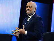Washington, DC - March 4, 2018: Prime Minister of Albania Edi Rama speaks during the 2018 American Israel Public Affairs Committee (AIPAC) Public Policy Conference at the Washington Convention Center March 4, 2018.  (Photo by Don Baxter/Media Images International)
