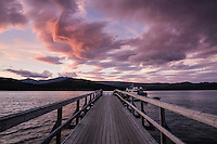 Pier on lake Langas at sunset, Saltoluokta Fjällstation, Kungsleden trail, Lapland, Sweden