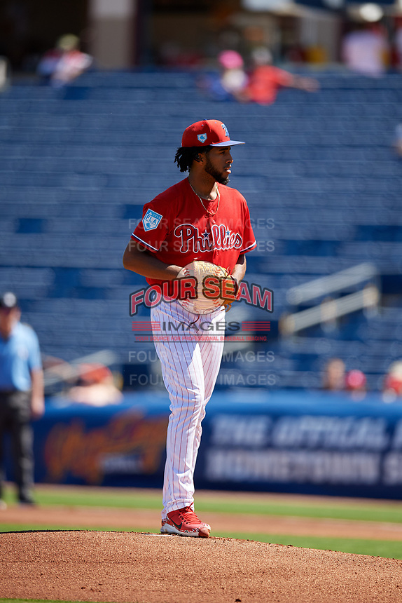 Philadelphia Phillies starting pitcher Adonis Medina (77) gets ready to deliver a pitch during a Grapefruit League Spring Training game against the Baltimore Orioles on February 28, 2019 at Spectrum Field in Clearwater, Florida.  Orioles tied the Phillies 5-5.  (Mike Janes/Four Seam Images)
