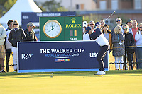 Alex Fitzpatrick (GB&I) on the 1st tee during Day 2 Foursomes of the Walker Cup, Royal Liverpool Golf CLub, Hoylake, Cheshire, England. 08/09/2019.<br /> Picture Thos Caffrey / Golffile.ie<br /> <br /> All photo usage must carry mandatory copyright credit (© Golffile | Thos Caffrey)