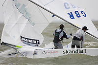 Iain Percy and Andrew Simpson break their mast but still managed finished the race. GBR, Star, Day 5, May 28th, Delta Lloyd Regatta in Medemblik, The Netherlands (26/30 May 2011).