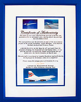 BNPS.co.uk (01202 558833)<br /> Pic: Humbert&Ellis/BNPS<br /> <br /> Certificate of Authenticity.<br /> <br /> Hot seat's - Concorde's most requested seats could be yours...for £2,500.<br /> <br /> Two front row seats for a Concorde jet the likes of Princess Diana and Kylie Minogue sat on are set to fly at auction.<br /> <br /> The prestige seats were for positions 1C and 1D on a British Airways Concorde supersonic plane that regularly crossed the Atlantic in under three hours.<br /> <br /> It is documented that among the famous posteriors to grace the specially designed leather and fabric upholstered seats were those of Princess Diana, Kylie Minogue and Michael Jackson.<br /> <br /> As well as the seats, an original slimline hostess cabin trolley with 12 interior trays from the legendary aircraft is also being sold off.