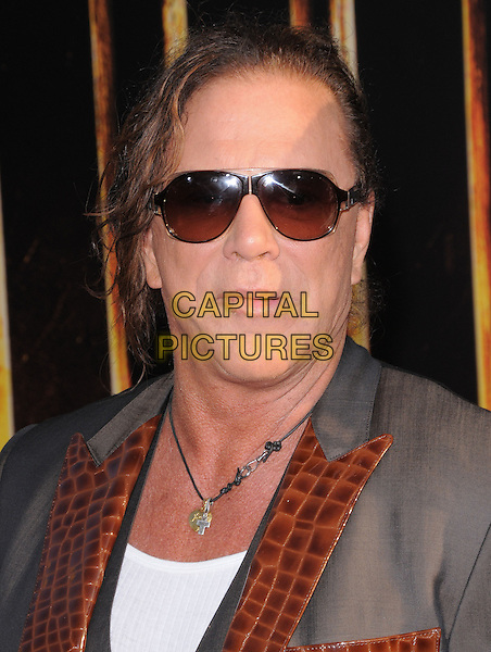 MICKEY ROURKE & ANASTASSIJA MAKARENKO.The Marvel World Premiere of Iron Man 2 held at The El Capitan Theatre in Hollywood, California, USA..April 26th, 2010      .headshot portrait grey gray sunglasses shades  grey gray brown lapel necklace white vest croc.CAP/RKE/DVS.©DVS/RockinExposures/Capital Pictures.