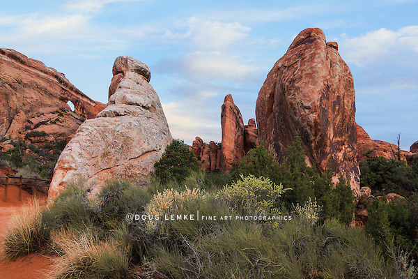 Rock Forms near Landscape Arch in the Devil's Garden hiking area at Arches National Park, Utah, USA