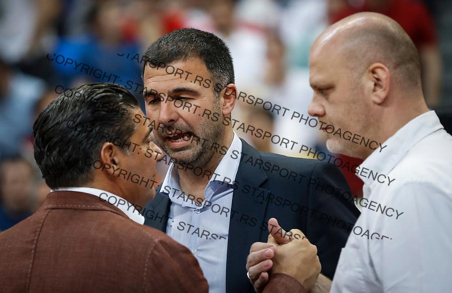 Kosarka Euroleague season 2016-2017<br /> Crvena Zvezda v Olympiacos (Athens)<br /> Misko Raznatovic (L) Davor Ristovic and Mirko Pavlovic (R)<br /> Beograd, 22.03.2017.<br /> foto: Srdjan Stevanovic/Starsportphoto &copy;