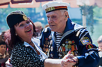 Moscow, Russia, 09/05/2011..A former sailor dances as Russian World War Two veterans and well-wishers gather in Gorky Park during the country's annual Victory Day celebrations.
