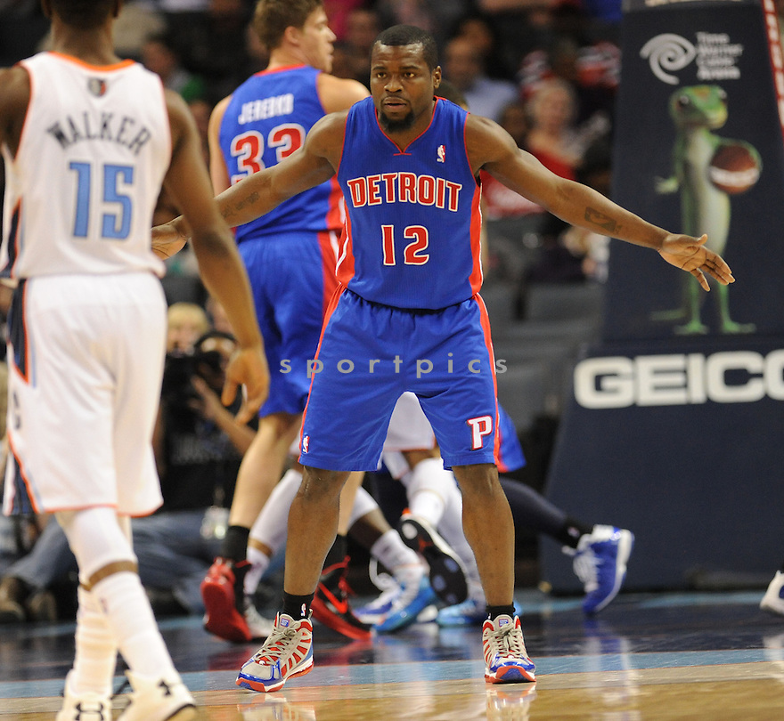 Detroit Pistons Will Bynum (12) in action during a game against the Charlotte Bobcats on February 20, 2012 at Time Warner Arena in Charlotte, NC. Detroit beat Charlotte 105-99..