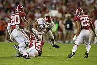 Hawgs Illustrated/BEN GOFF <br /> Ronnie Harrison, Alabama free safety, tackles Devwah Whaley, Arkansas running back, in the third quarter Saturday, Oct. 14, 2017, at Bryant-Denny Stadium in Tuscaloosa, Ala.