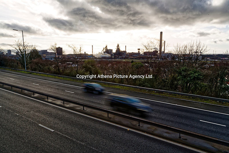 Pictured: The blast furnaces of the steel works as seen over the M4 motorway in Port Talbot, Wales, UK. Monday 29 January 2018<br /> Re: Some of the Port Talbot steel workers' pensions are under threat after being persuaded to change providers.