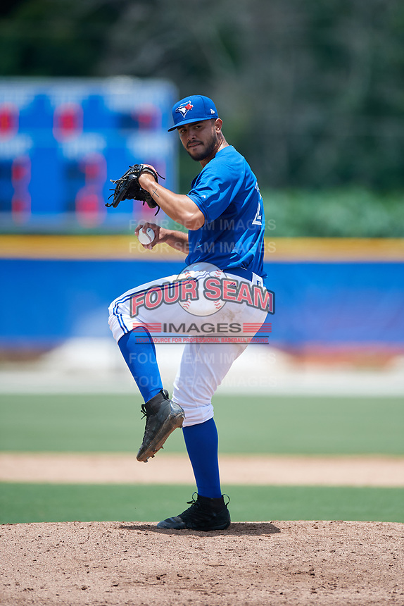 GCL Blue Jays relief pitcher Juan Meza (21) delivers a pitch during a game against the GCL Pirates on July 20, 2017 at Bobby Mattick Training Center at Englebert Complex in Dunedin, Florida.  GCL Pirates defeated the GCL Blue Jays 11-6 in eleven innings.  (Mike Janes/Four Seam Images)