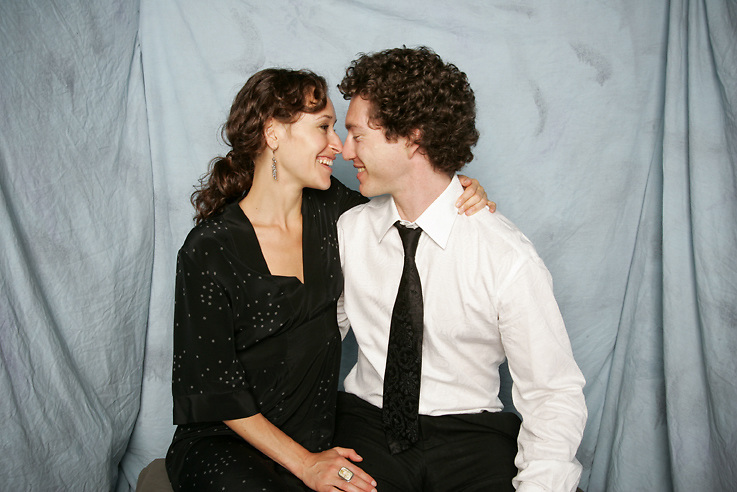 Guests in a photo booth at a wedding, new york studio booth