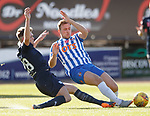 06.10.18 Dundee v Kilmarnock: Lewis Spence tackles Greg Stewart