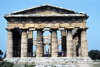 Italy: Paestum--Temple of Hera II, Elevation. Photo '83.