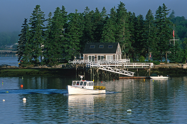 Lobster boat in front of Squirrel Island, Boothbay Harbor, Maine, USA