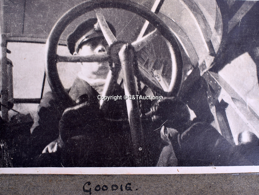 BNPS.co.uk (01202 558833)<br /> Pic: C&TAuctions/BNPS<br /> <br /> Pilot 'Goodie' at the controls of a Felixstowe flying boat.<br /> <br /> A fascinating photo album which documents the adventures of a captain in the fledgling Royal Naval Air Service has been unearthed after 100 years.<br /> <br /> The photos were compiled by Captain Denis Carey who was based in Maidstone, Kent, and they provide a fascinating insight into the air arm of the Royal Navy during the First World War.<br /> <br /> They show the thrills and spills of the pioneering early days of aviation in a world before health and safety had been invented.