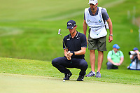Thomas Pieters eyes up his putt on the 5th green during the BMW PGA Golf Championship at Wentworth Golf Course, Wentworth Drive, Virginia Water, England on 28 May 2017. Photo by Steve McCarthy/PRiME Media Images.