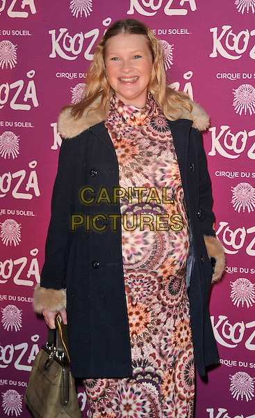 Joanna Page .Opening night of  the Cirque du Soleil's 'Kooza' at the Royal Albert Hall, London, England..8th January 2013 .half length black beige fur jacket dress pink purple pregnant.CAP/WIZ.© Wizard/Capital Pictures.