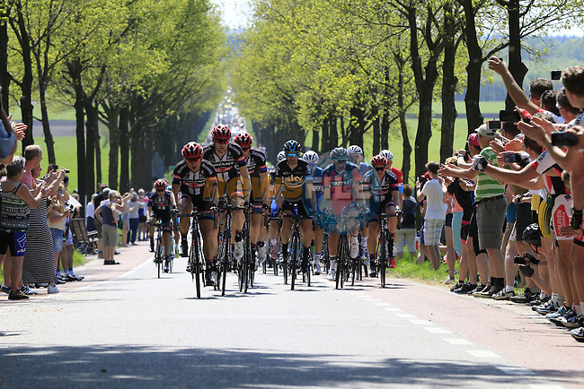 The peloton led by Team Giant-Alpecin at Deelen during Stage 2 of the 2016 Giro d'Italia running 190km from Arnhem to Nijmegen, The Nethrerlands. 7th May 2016.<br /> Picture: Eoin Clarke | Newsfile<br /> <br /> <br /> All photos usage must carry mandatory copyright credit (&copy; Newsfile | Eoin Clarke)