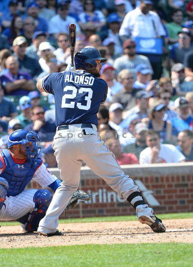 San Diego Padres Yonder Alonso (23) during a game against the Chicago Cubs on April 17, 2015 at Wrigley Field in Chicago, IL. The Padres beat the Cubs 5-4.