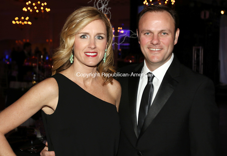 SOUTHINGTON CT. 06 February 2016-020616SV22-From left, Mauria and Greg Jacobi of Woodbury, Co-Chair of the gala, attend the Saint Mary's Hospital Foundation 25th Annual Gala at the Aqua Turf Club in Southington Saturday.<br /> Steven Valenti Republican-American