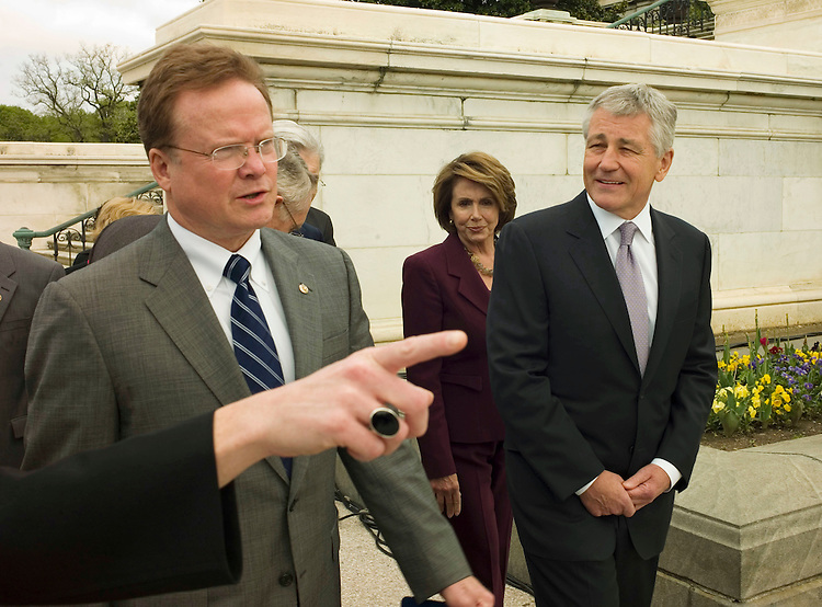 "WASHINGTON, DC - April 29: Sen. Jim Webb, D-Va., House Speaker Nancy Pelosi, D-Calif., and Sen. Chuck Hagel, R-Neb., arrive for a rally with veterans in support of the  ""Post-9/11 Veterans Educational Assistance Act"" (S.22/ H.R. 5740), which would provide veterans of the conflicts in Iraq and Afghanistan educational benefits similar to benefits provided to veterans of the World War II era.  Rep. Robert C. Scott, D-Va., Rep. Ginny Brown-Waite, R-Fla., and Rep. Harry E. Mitchell, D-Ariz., are in background. (Photo by Scott J. Ferrell/Congressional Quarterly)"