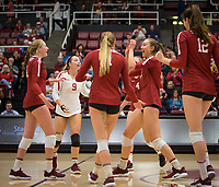 Stanford, CA - October 18, 2019: Kate Formico, Morgan Hentz, Jenna Gray, Madeleine Gates, Audriana Fitzmorris, Meghan McClure at Maples Pavilion. The No. 2 Stanford Cardinal swept the Colorado Buffaloes 3-0.