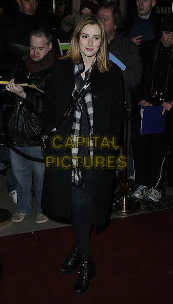 "Laura Carmichael.The ""Macbeth"" press night performance, Trafalgar Studios, Whitehall, London, England..February 22nd, 2013.full length black coat hands in pockets check shirt boots.CAP/CAN.©Can Nguyen/Capital Pictures."