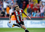 Billy Sharp of Sheffield Utd celebrates scoring the first goal during the Championship match at Bramall Lane, Sheffield. Picture date 26th August 2017. Picture credit should read: Simon Bellis/Sportimage
